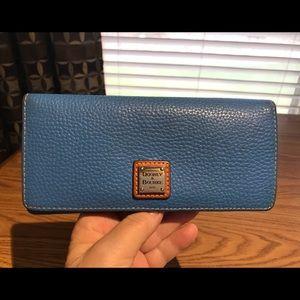 Dooney & Bourke Blue Slim Pebble Leather Wallet